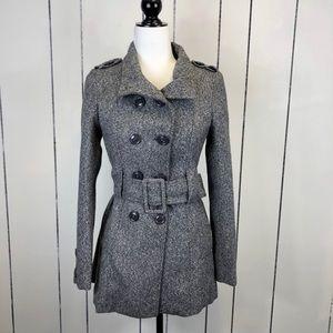 DE Studio Belted Wool Pea Coat Sz S